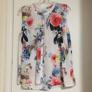 Cece Flower Blouse Cut Sleeves 🌺